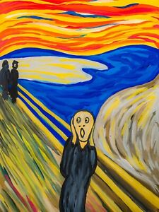 Scream Painting Edward Munch Reproduction Abstract Surrealist Ghost Face Bridge