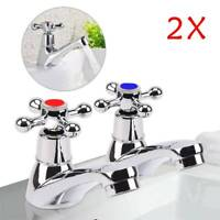 2Pcs Twin Basin Sink Hot and Cold Taps Pair Chrome Bathroom Water Faucets