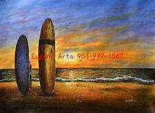 "36x48""(92x122cm)100%Hand Painted Oil Flat,Ocean,Seagull,Seascape,Surfboard"