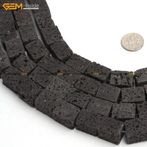 """Cube Cubic Square Black Lava Rock Stone Beads For Jewelry Making 15"""" Wholesale"""
