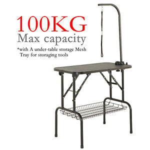 Folding Dog Pet Grooming Bath Table Adjustable Height Noose Arm Non Slip Top UK