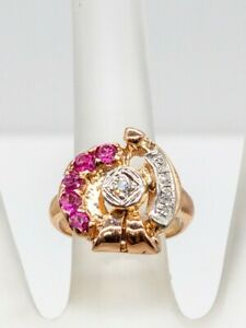 Antique 1940s RETRO 1.25ct Natural Ruby Diamond 14k Rose Gold Band Ring 6g