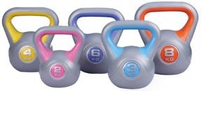 2kg, 3kg,4kg, 6kg, 8kg, 5 Piece PLASTIC  Kettlebell Weight Set Home Gym fitness