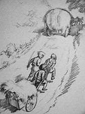 J.H. Dowd Young BOYS Pulling Hay Wagon up Hill 1938 Vintage Art Print Matted