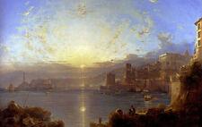 Dream-art Oil painting Franz Richard Unterb Genoa seascape sunset at harbor