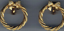 Bow and Wreath Goldtone Clip-on Earrings