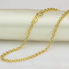 Pure 18K Yellow Gold  Women's Lucky Cable Link Chain Necklace 15.7 '' / 2g