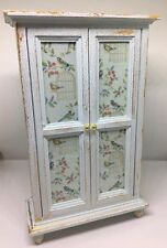 1:12th dolls house miniature shabby chic hand painted wardrobe with bird decals