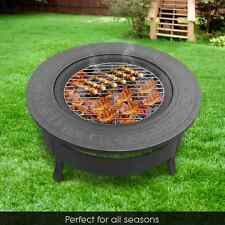 2 in 1 Outdoor Fire Pit BBQ Table Grill Heater Fireplace Garden Camping