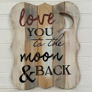 Carson Home Accents Love You To The Moon & Back Wall Art Distressed Wood 9 x 11