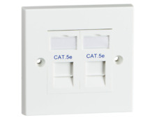 Twin Cat5e Flush Mounted Socket W/ 2G Faceplate & 2x Rj45 Cat5e Outlet Module