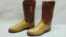 Lucchese 2000 Women's 6.5 B Beige & Brown Full Quill Ostrich Ropers Cowgirl Boot