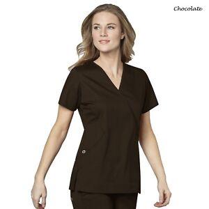 WonderWink Scrubs WONDERWORK Women Medical Slimming Sporty Mock Wrap Top 102