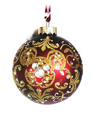 New Disney Parks Mickey Mouse Icon Glass Red Gold Victorian Bejeweled Ornament