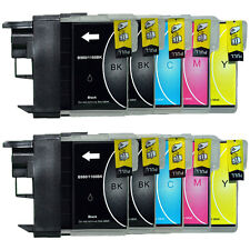 10 Druckerpatronen für Brother DCP-195C 165C 375CW MFC-250C 490CW LC980 LC1100