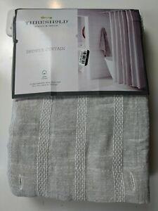 "Threshold Fabric Shower Curtain Gray Sheer Stripe 72"" x 72"" 100% Cotton"