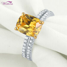 Silver Yellow Sapphire Cz Size 7 Wedding Rings Engagement Ring Set 4ct Sterling