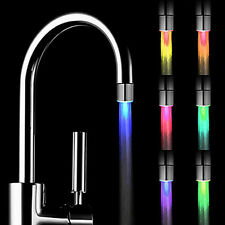 Glow LED Faucet Temperature Sensor Light RGB 7 Color Shower Kitchen Water Tap QE