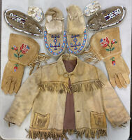 Collection Lot Native American Indian Moccasins Gloves Jacket Beaded Beadwork