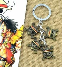 Fd4582 One Piece Luffy Straw Hat Pirates Skull Pendant Keyring chain ring Gift ♫