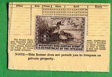 OREGON 1939 Resident Hunter's License W/ RW6 F,VF No Gum - 602