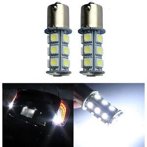 #1156 18SMD White LED Park Parking Tail Light Turn Signal Reverse Lamp Bulb Pair