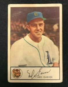 1953 GLENDALE MEATS BASEBALL CARD NED GARVER GD-VG RANGE BV $1800 DETROIT TIGERS