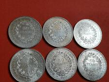 Lot 6 pièces argent 50 Francs Hercule an 1974 / 75 / 76 / 77 / 78 / 79 Lot n° 8