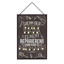 Stiefpapa Reparieren 20 x 30 cm Holz-Schild 8 mm Spruch Motiv Werkstatt Geschenk