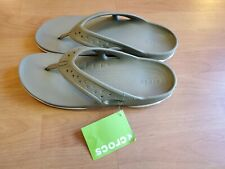 NEW Men Crocs Swiftwater Deck Flip Flop Sandal Khaki/Stucco 13 New with Tags