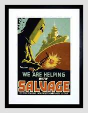 PROPAGANDA WAR WWII USA SALVAGE BATTLESHIP WELD FRAMED ART PRINT MOUNT B12X7205
