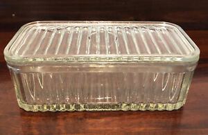 Vintage Depression Glass Butter Dish and Cover Larger Size Rectangular