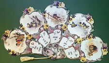 Victorian Paper Fan Singing of the Birds Greeting Card Old Print Factory