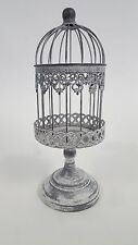 Antique Beige Small Iron Bird Cage on Stand