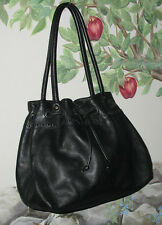 CYNTHIA ROWLEY Large Black Leather Drawstring Handbag Shoulder Bag