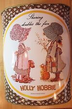 "VINTAGE 70's HOLLY HOBBIE ""SHARING DOUBLES THE FUN"" CHEINCO METAL TRASH CAN BIN"
