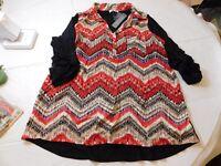 Joseph A. 3/4 Sleeve Shirt Womens Size M medium Inca Print black red off wht NWT