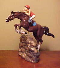 Hagen-Renaker Specialty #3326 JUMPING HORSE WITH RIDER - Ceramic Figurine