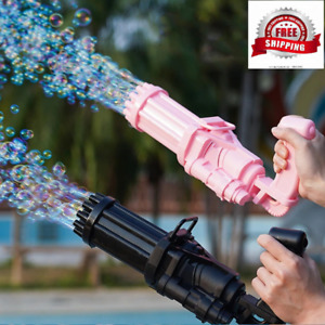 Gatling Bubble Machine Kids Toys 18 hole Plastic Toys Automatic Bubbles Blower M