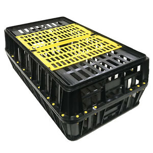 Poultry carrying crates Large size strong plastic sliding top door *UK Seller*