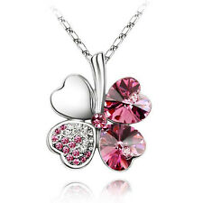 2015New Style Women Lady Mean Happiness Clover Crystal Pendant Chain Necklaces