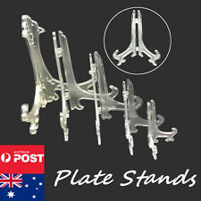 5 sizes Plastic Display Plate Stand Bowl Picture Frame Photo Book Clear Holder