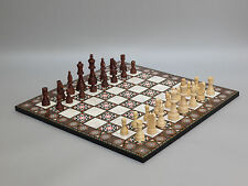 CHESS SET-FOLDABLE CHESS BOARD AND PIECES -YENIGUN MOTHER OF PEARL DESIGN 17""