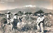 Postcard,Mexico Real Photo 4 friends, One on Donkey, El Ixtlacchuatl Volcano