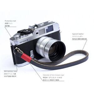 Handmade Black Leather Camera Hand Wrist Strap for Leica Canon Sony Fuji 10mm