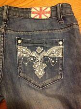Machine distressed destroyed crystal women's denim blue jeans size 3 / 27 #5
