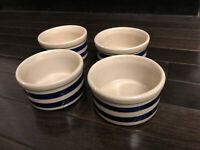 R R P Pottery Roseville Ohio Stoneware Crock Blue Striped Band Set Of 4