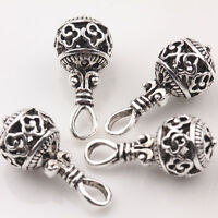 10/20Pcs Tibetan Silver Charm Hollow Out Jewelry Beads Pendant Findings 20*10mm
