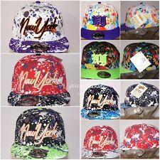 Paint Splash snapback caps, bling flat peak baseball fitted hats, hiphop NY