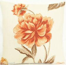 "Cushion Cover Designers Guild Fabric Shanghai Rose Linen Orange Brown Square 16"""